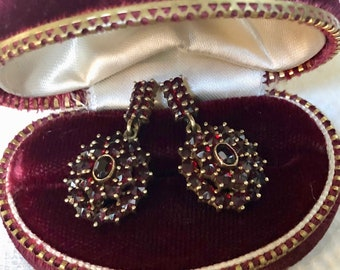 Vintage Garnet Earrings Bohemian Garnet Hanging Pierced 14K Wedding Anniversary Engagement Earrings Estate Victorian Style Original Backs