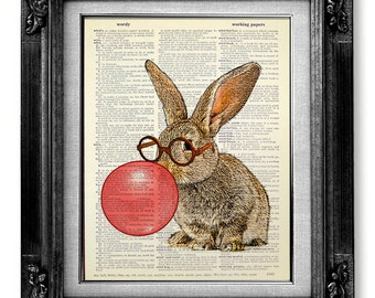 Nerdy Bunny Art Print, DICTIONARY ART PRINT, Rabbit Print, Bunny Illustration, Rabbit Painting Bunny Wall Art, Rabbit Drawing Bunny Poster