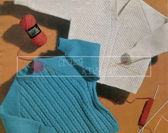 Childrens Raglan Sweaters 2-4 years 4-ply Sirdar 300 Knitting Pattern PDF instant download