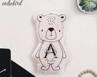 Personalised Bear Plush Rattle or Pillow, baby rattle, plush toy, Bear pillow, Monochrome, Floral Monogram, keepsake, Baby shower gift
