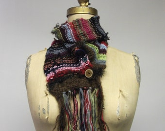 Hand knit Multi colored assymetrical wrap scarf