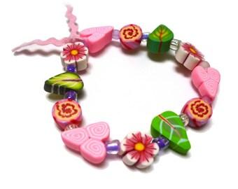 """Bracelet en lumière rose de la jeune fille, fille de fleur bijoux, Bracelet extensible de 6"""", cadeau de Noël pour fille, perles à la main, mariage anniversaire fille de bijoux"""