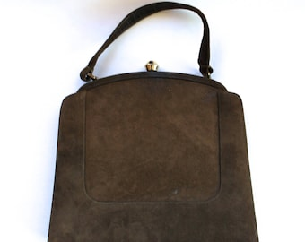 Vintage 1950's/1960's Brown Suede Clasped Handbag Purse with Goldtone Clasp