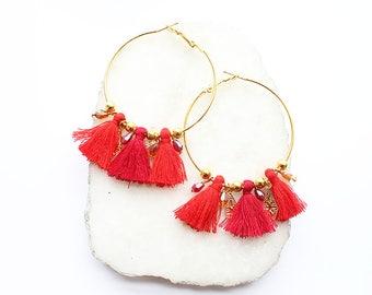 Tassel Gold Hoop Earrings-Red