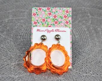 Vintage inspired earrings, pendant earrings big loop orange, 60s