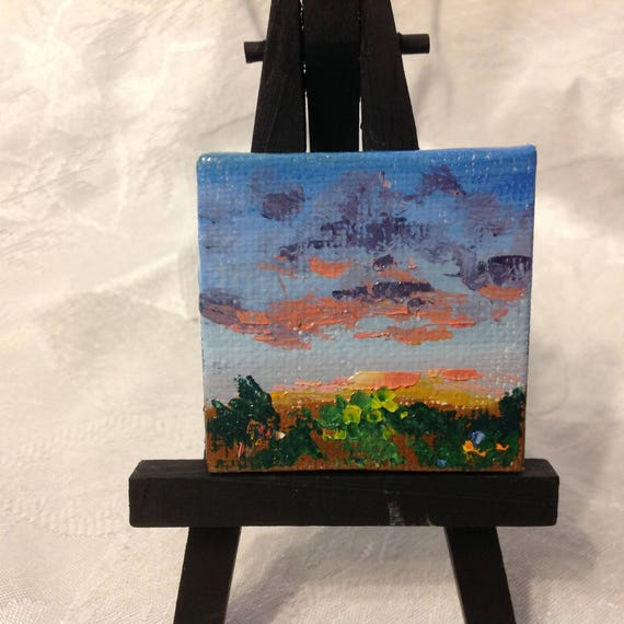 Miniatures, Dawn Landscape, Rising Sun painting, Tiny art, Mini landscape