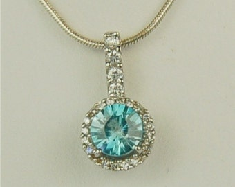 Blue Zircon Necklace Sterling Silver 6mm 1.05ct Set In A Halo Of Cz's Birthstone Necklace