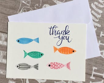 Original hand-painted watercolor card / Fish card / Thank you card, NOT a print