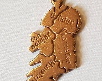 9ct Solid Gold Ireland Irish Pendant Charm Provinces of Ireland Map