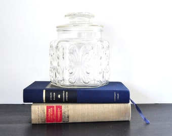 Vintage Glass Canister, Imperial Glass, Atterbury Scroll, Clear with Lid, Storage Jar