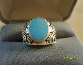 Turquoise Ring, Sterling Silver Ring with Turquoise, Southwest Design Ring, Turquoise Ring