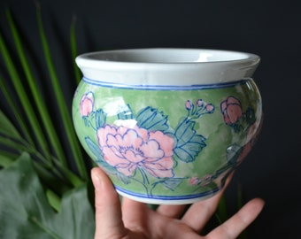 Painted Ceramic Floral Plant Pot Asian Chinese Glazed Pottery Gardening Home Decoration