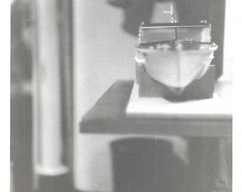 """Vintage Snapshot """"Still Life With Boat"""" Abstract Photo Of A Model Boat Dramatic Lighting Black & White Original Found Photograph"""