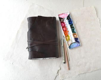 Rustic Brown Leather Journal with Watercolor Paper