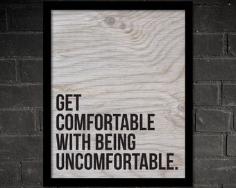 Get Comfortable With Being Uncomfortable, Crossfit, Gym, Motivation, Workout, Training, Triathlon, Quote, Poster, Printable Art