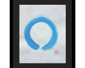 Aqua Blue Enso on white- original zen circle painting, not a print