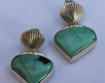Turquoise earrings in silver, ethnic Bohemian style ring