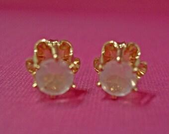Rose Quarz Earrings - Light Pink Rose Quartz Post Earrings - Gold Filled Post Earrings