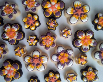 Mini Assorted Flower Cookies - Two Dozen Decorated Cookies