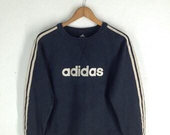 Vintage 90's Adidas 3 Stripes Varsity Jacket Sweatshirt Sport Trainer Sweater Hip Hop Size S J15AF9U3
