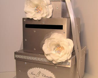 Wedding Card Box Silver with handmade flowers and Swarovski Crystals/Pearls center Gift Card Box Money Box Holder -Customize your color
