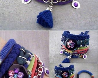 Bohemian Bracelet Aurora Borealis, Universe Bracelet, Galaxy Bracelet Northern Lights, Jersey Bracelet Galaxy Jewelry, Space Jewelry