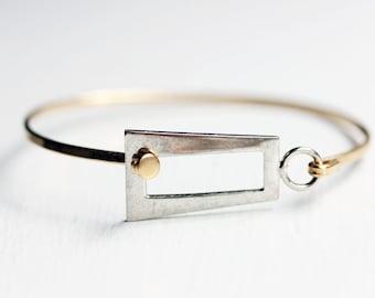 Rectangle Hook Bracelet, Mixed Metal Bracelet, Silver and Gold Bracelet, Gold Wire Bracelet, Small Gold Bracelet, Geometric Bracelet, Hook