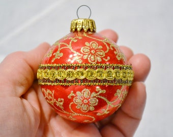 Vintage Glass Ball Christmas Tree Ornament Boxed Set of 5 Christmas By Krebs Fancy Ornate Red Green Gold Panchosporch