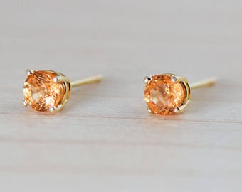 Spessartite Mandarin Orange Garnet 14k Yellow Gold Stud Earrings