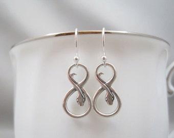 Snake Earrings Silver, Sterling Silver Snake Earrings, Infinity Snake Earrings, Infinity Earrings, Serpent Earrings, Snake Jewelry