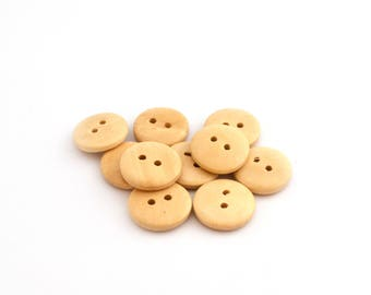 Wooden buttons natural set of 10 / 15 mm