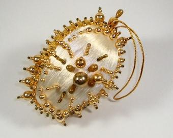 Beautiful Beaded Satin Christmas Ornament, Gold Beads, Holiday, Handcrafted Retro Tree Decor, 1970's  (292-15)