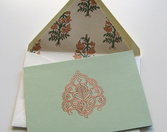 COPPER and SAGE CARDS - 4 sage green folding cards with metallic copper plume motifs and cream hand lined floral motif envelopes