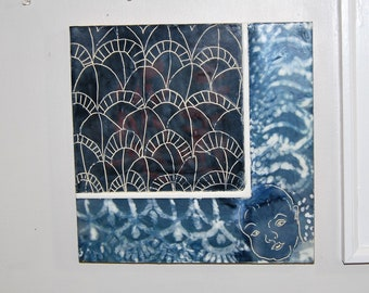 """Abstract Encaustic Painting Indigo Blue & White """"Baby Blankie"""" on Wood Cradle 12""""x 12"""""""