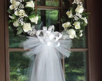 White Rose Wedding Door Wreath, Grapevine Wreath, Bridal Shower Wreath, Wedding Wreath, Floral Wreath, Church Decor