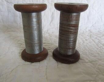 Vintage Wood Spools set of 2 textile Mill Wooden Thread Spools