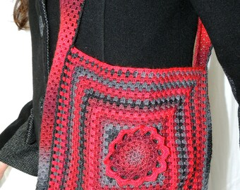 Red and Black wool crocheted shoulder bag.