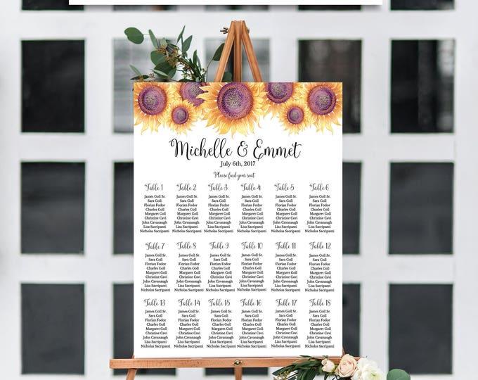 Sunflower Wedding Seating Chart Template, Floral Wedding Seating Chart, Seating Chart Template, Seating Board, YOU EDIT, Seating Template