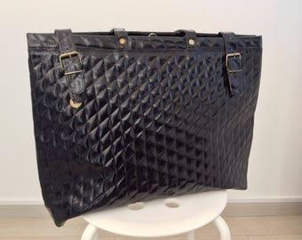 Vintage black patent leather handbag tote bag woman handbag gift for her