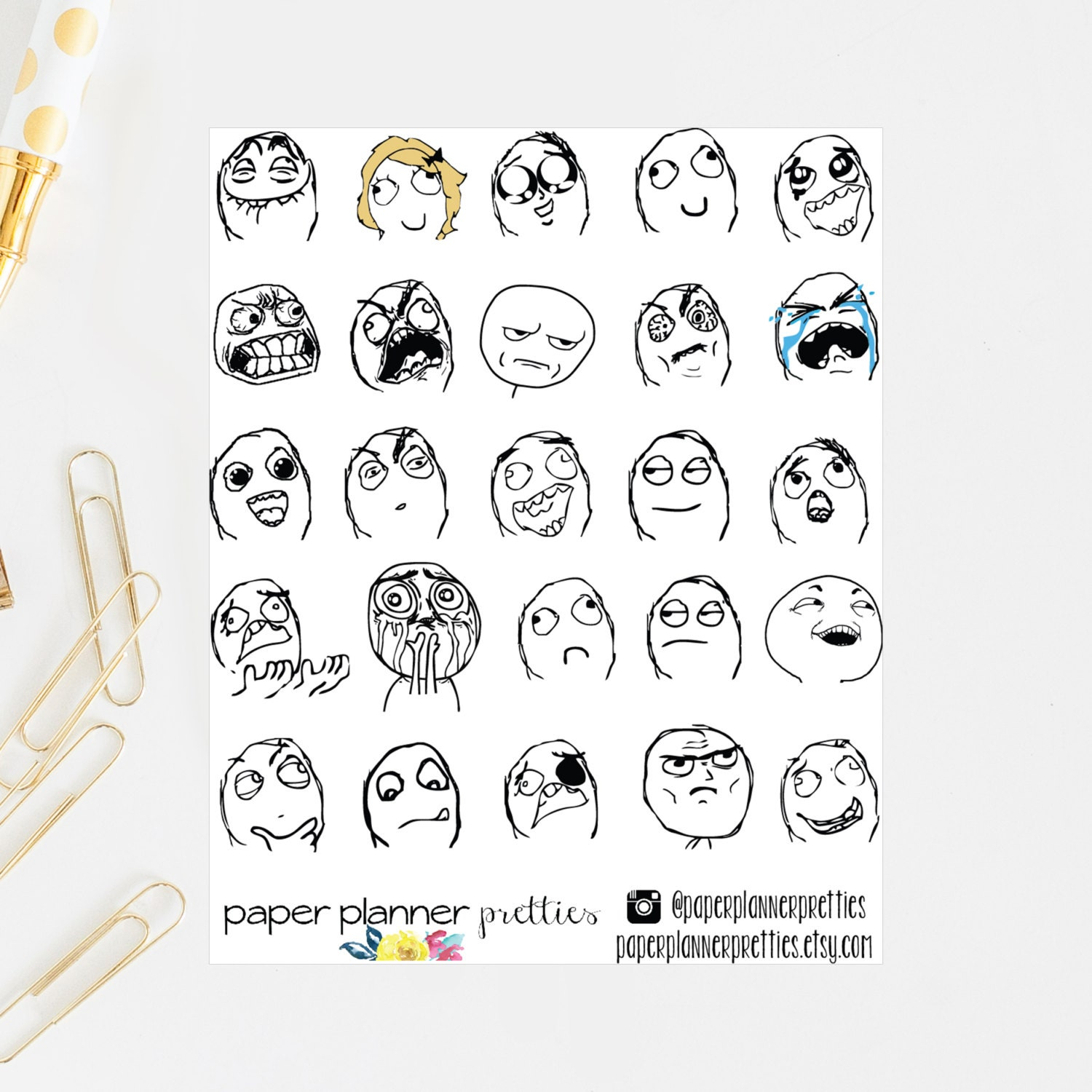 Meme troll face planner stickers inkwell press planner erin zoom voltagebd Image collections