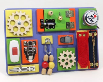 Wooden Electric Busy Board 60th Birthday Gift Waldorf Toys Occupational Therapy Educational Toy Physical Therapy Massage Therapist Activity