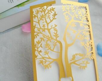 50pieces  Gold Laser Cut Tree Wedding Invitations,Birthday Greeting Cards,Wedding Invitation Cards,Wedding Invitations,Invitate,invite cards