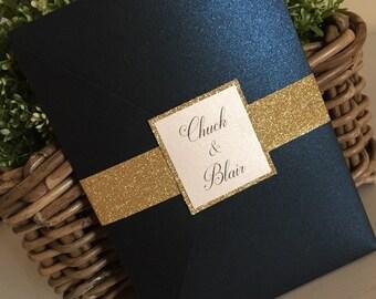 Blue Wedding Invites / Blue Wedding Invitations / Blue an Gold Invites / Gold Invitations / Blue and Gold Wedding Invites