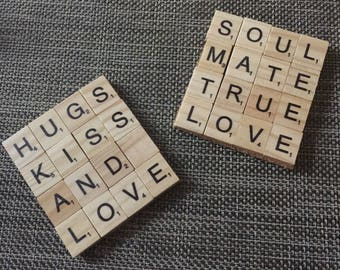 Handmade Scrabble Tile Coasters (set of two)