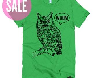 CLEARANCE Cool Funny T Grammar Shirt Funny Tshirts Who Whom Owl Tee Womens Shirt Womens TShirt English Teacher Gift for Teachers Editor