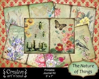The Nature of Things Printable Journal Kit, 5x7 Printable Journal, Memory Keeping Journal, Digital Journal Kit, Junk Journal