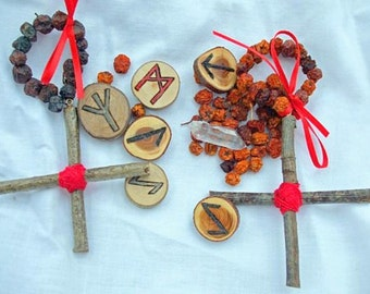 Rowan Tree and Red Thread Cross Charms for Good Luck and Protection of Negative Energies-TWO CROSSES