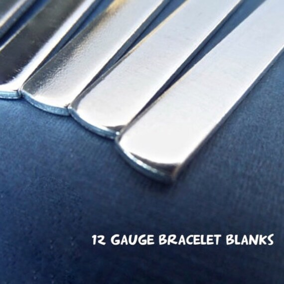 """10 Blanks 12G 3/8"""" x 5-1/2"""" Tumbled Polished Cuffs - Very Thick Pure 1100 Aluminum Bracelet Blanks - 10 Cuffs  - Flat - Made in USA"""