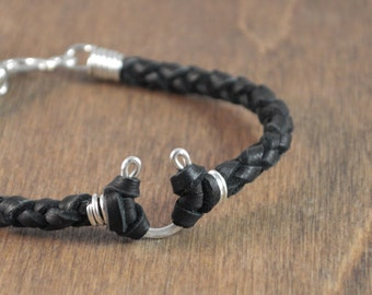 Horseshoe Leather Bracelet - Sterling Silver with Choice of Deer Hide Leather