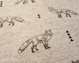 Gray white and black Fox rustic crib sheet
